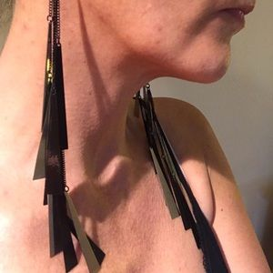Extra Long Black and Silver BEBE earrings
